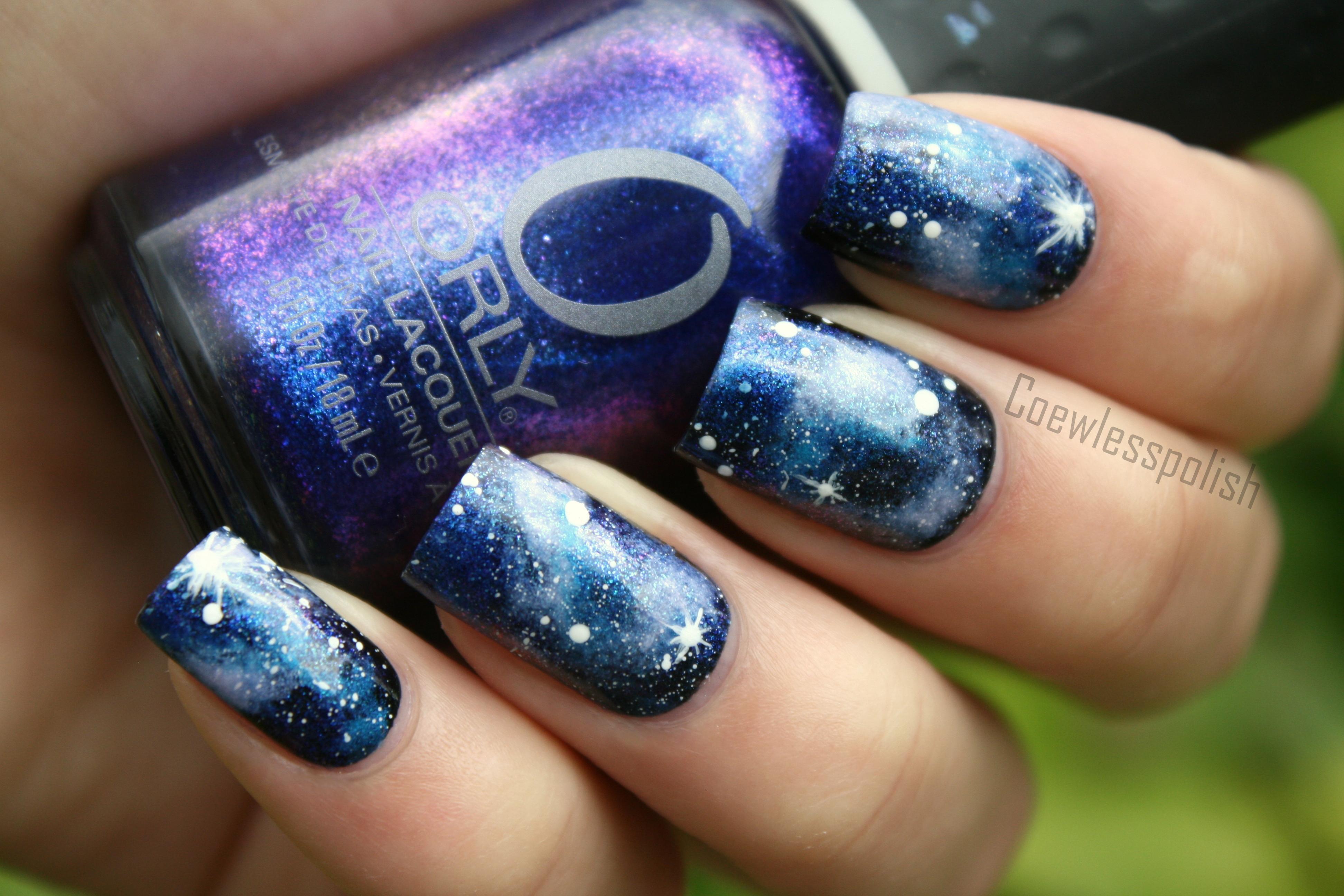 Galaxy Nail Art Blue galaxy nail art