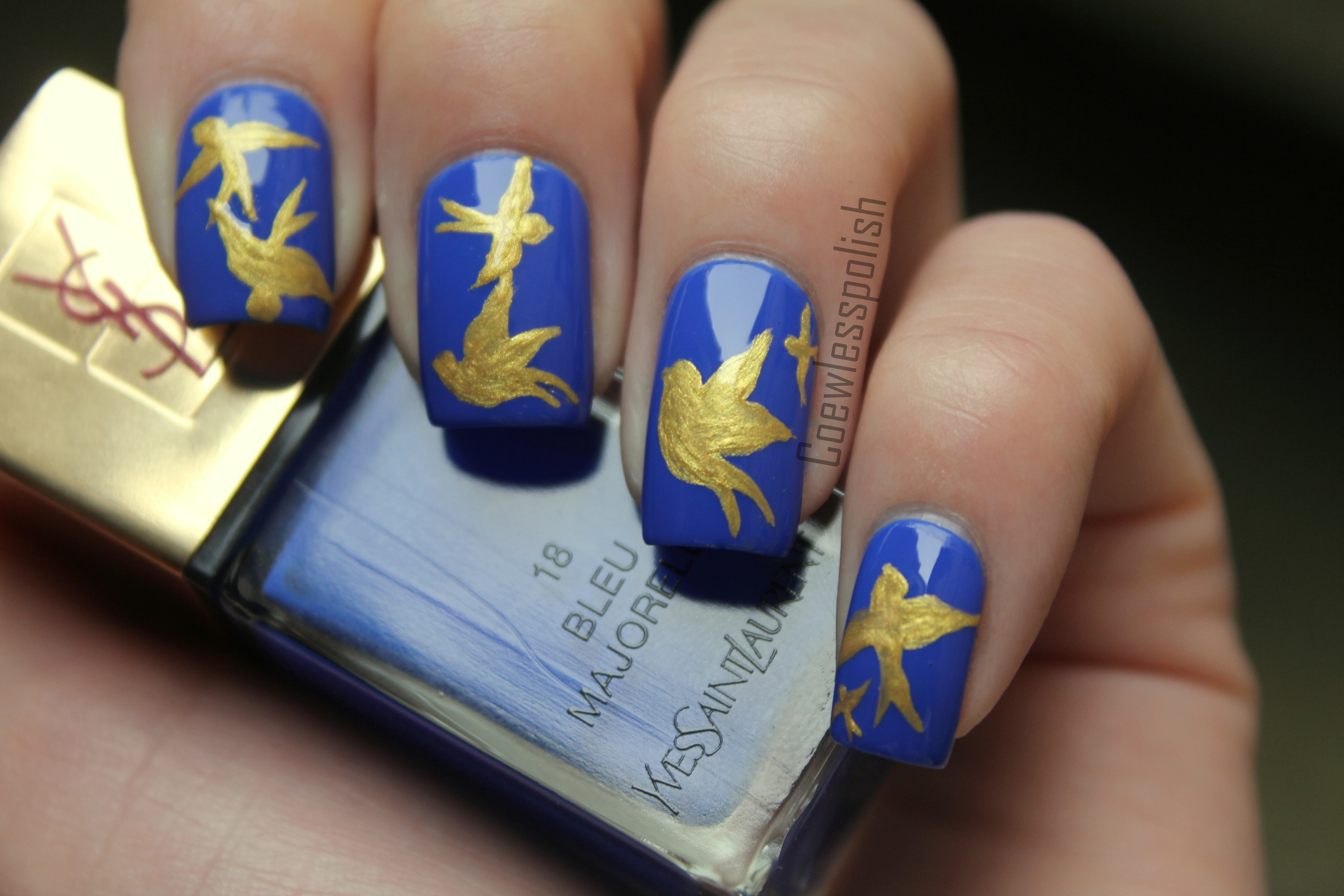 Notd ysl bleu majorelle nail art coewless nail - Nail art bleu ...