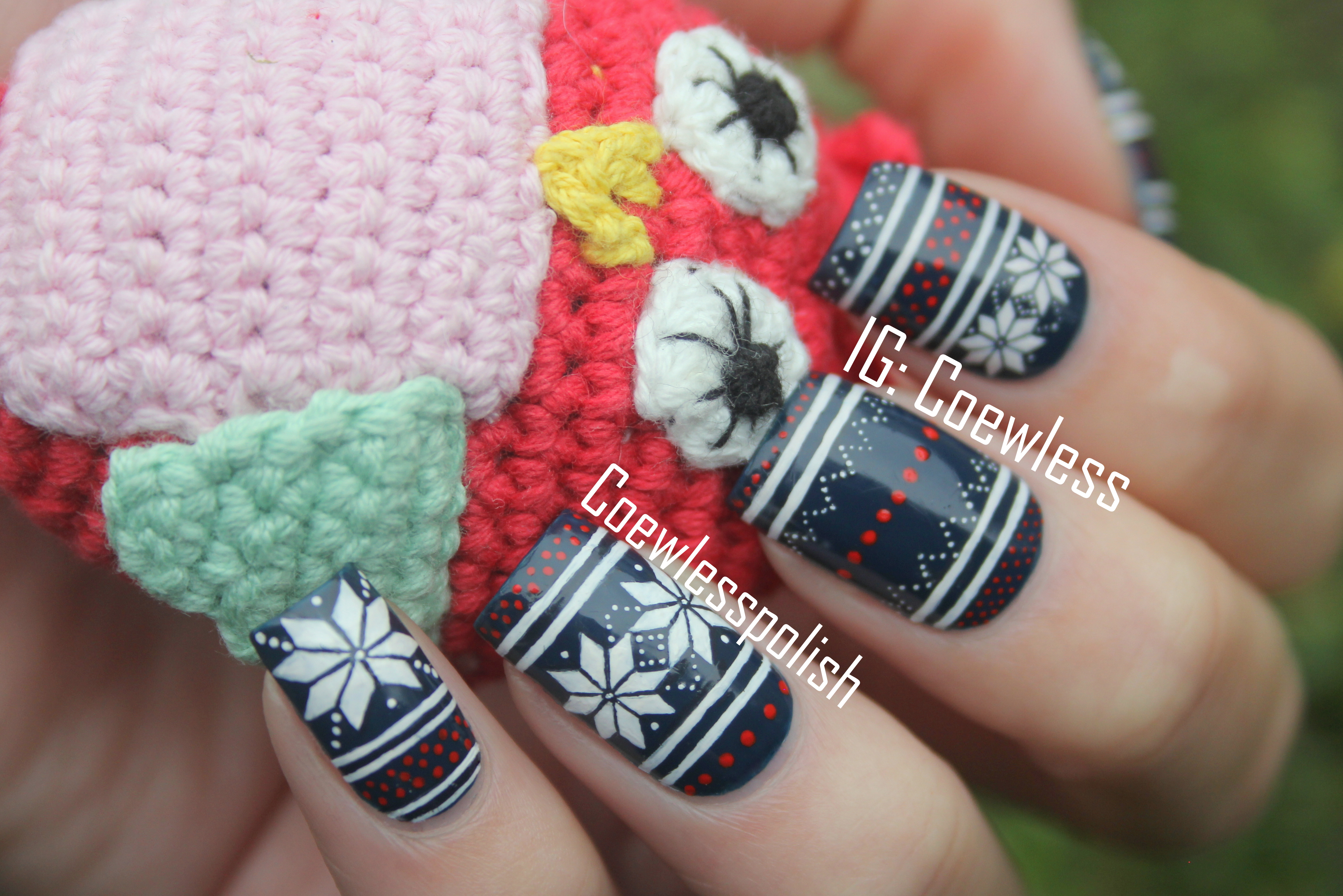Jolly Holidays #3 – Blue Fair Isle nails (inspired by Iwearsin ...