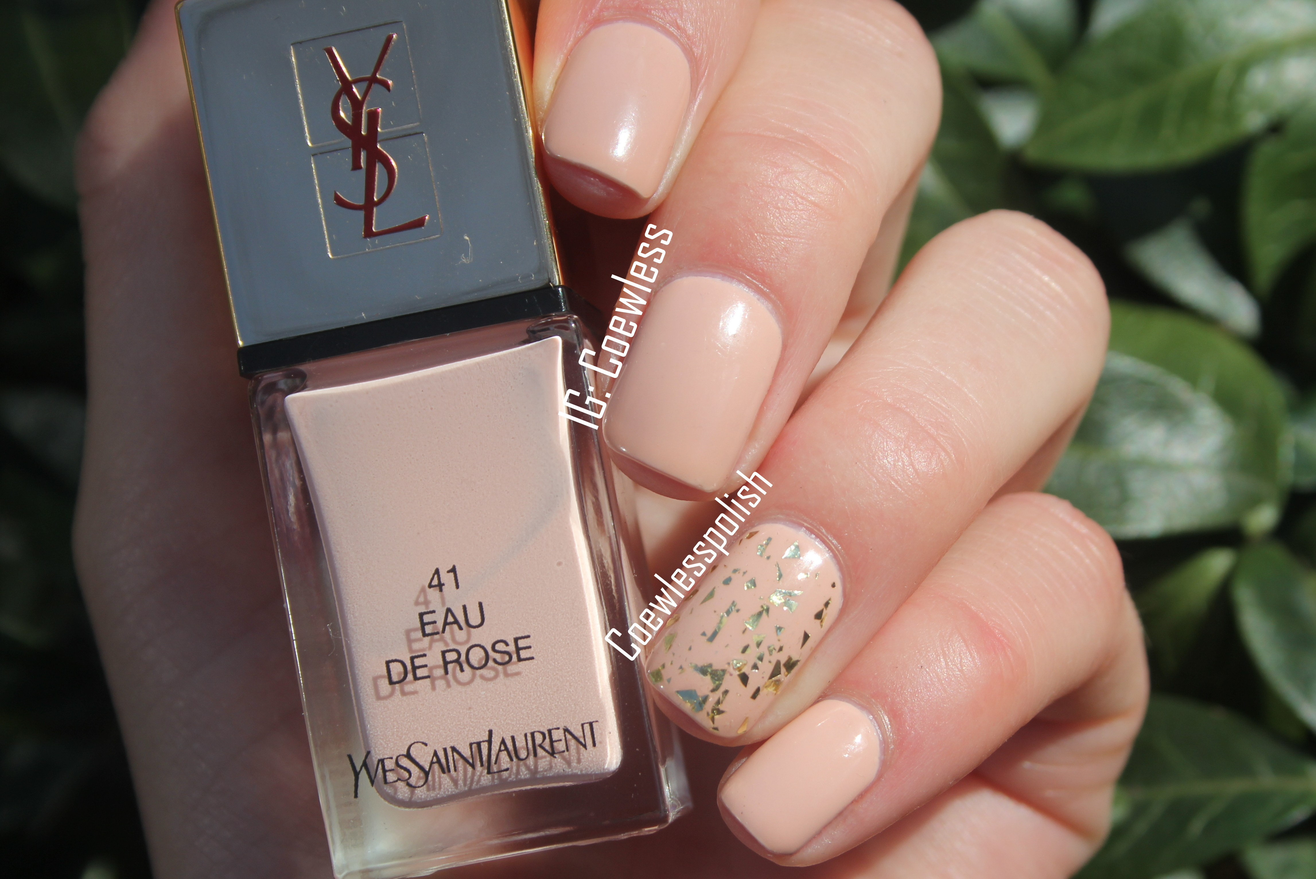 Notd ysl eau de rose feuille d or coewless nail - Simple nail polish designs at home ...